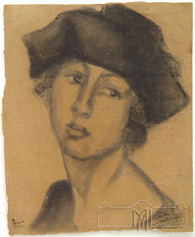 Alexandru Plamadeala (1888-1940) Girl in hat, the 1930ies, paper, charcoal, 43,6x36,0cm