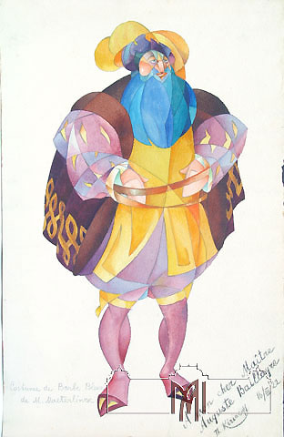 Teodor Kiriakoff (1901-1958) Sketch for the costume for the play Blue Beard by Maeterlinck, 1922, paper, watercolors, graphite pencil, 51,2x32,8cm