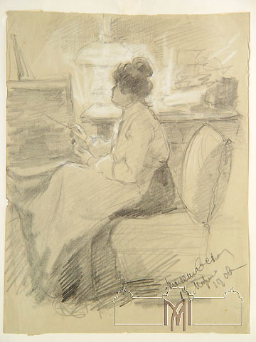 Eugenia Malesevschi (1869-1942) Self-portrait. Sketch, 1900, graphite pencil, pastel, paper, 30,9x23,7cm