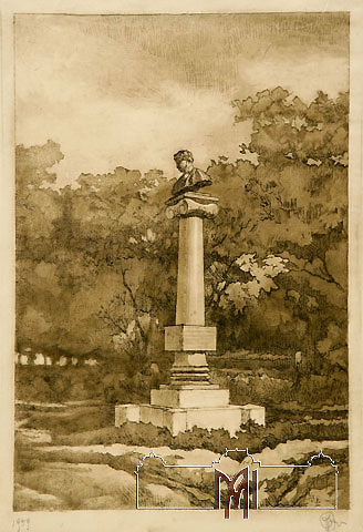 Grigore Fiurer (1886-1962) The monument of A. Pushkin in Chisinau, 1959, paper, etching, aquatint, 33,7x21,6cm