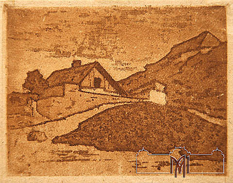 Şneer Cogan (1875-1940) Landscape, beg. of the 20th cent, paper, etching, aquatint, 9,9x12,7cm