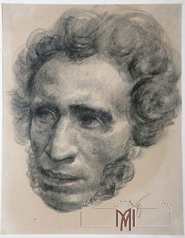 Isaac Bilenchi (1889-1950) Portrait of A. S. Pushkin, 20th cent, paper, lithography, 41,0x29,5cm