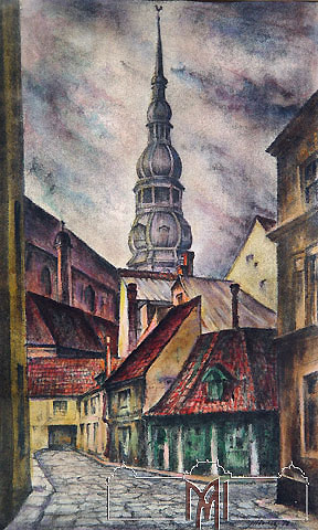 Victor Ivanov (1910-2007) Old Riga. Catholic church, 1978, paper, lithography, watercolors, 53,9x36,0cm